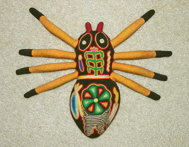Huichol native yarn art, tarantula spider. Nayarit, Mexico