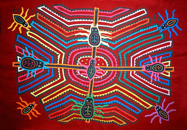 Kuna native mola art, with spiders, symbols of fertility. San Blas, Panama 1