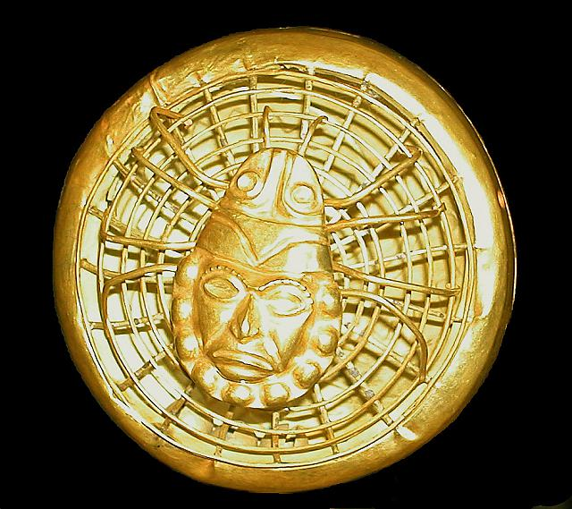 Moche spider on web (in gold) with Old Lord of Sipan face, Peru
