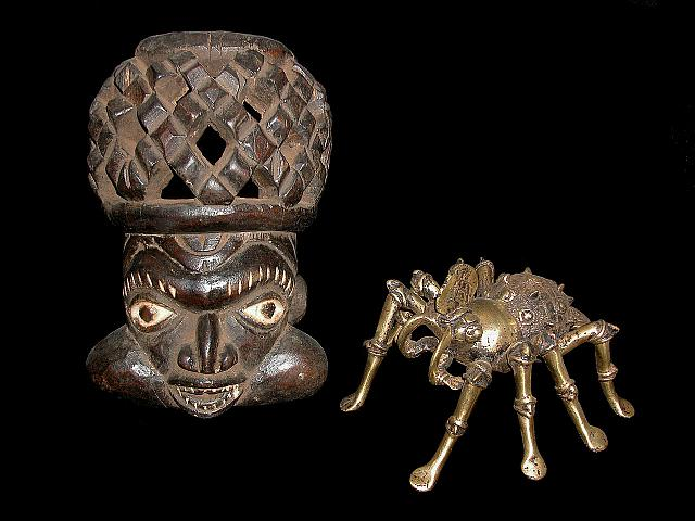 Bamileke carving and brass sculpture of 'Earth Spider', Cameroon