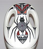 Tiqua native pottery, 'Water spider' vase. El Paso, Texas